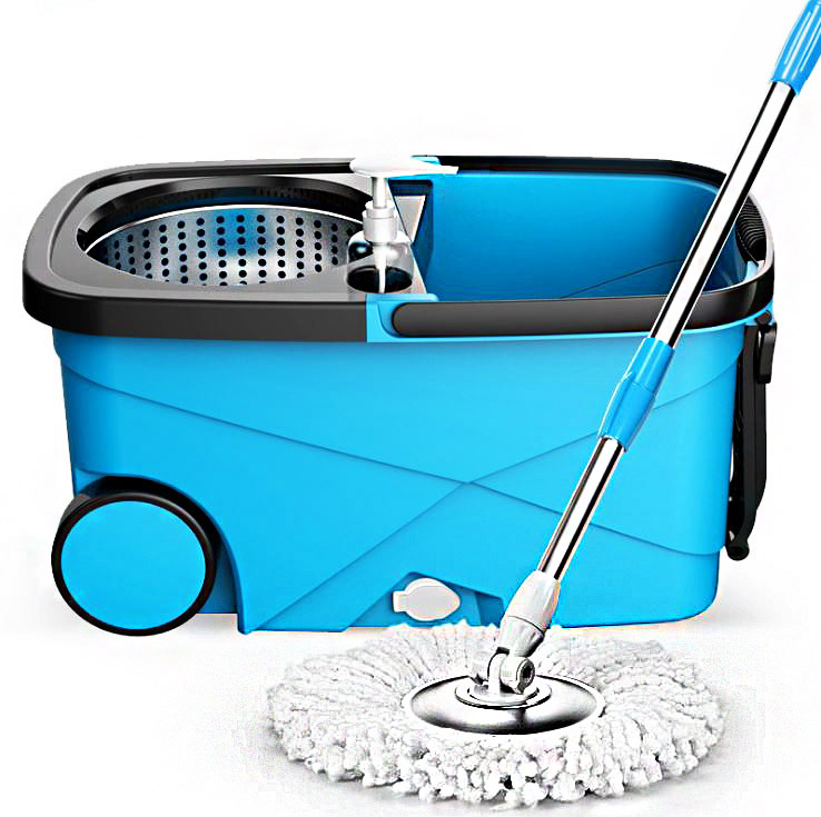 Advanced 360 Degree Spin Mop & Stainless Steel Bucket Kit with Wheels (Blue)