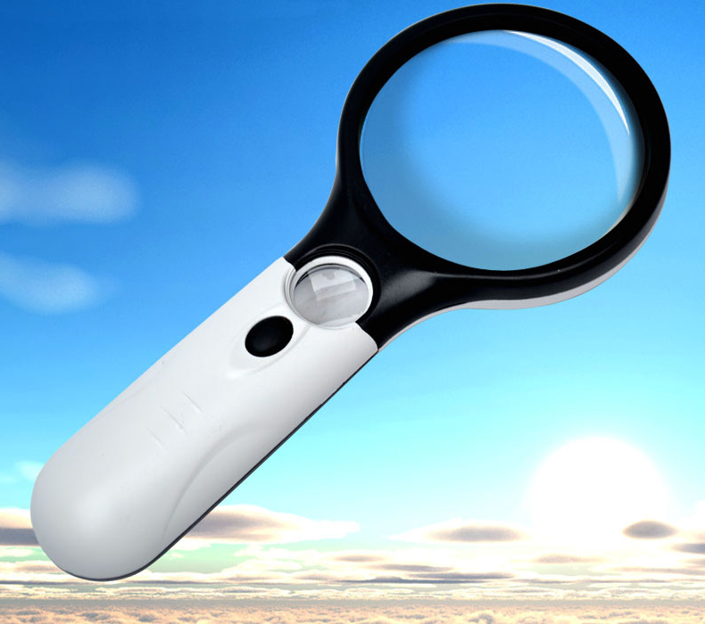 3 LED Illuminated 45x Magnifying Glass Reading Magnifier