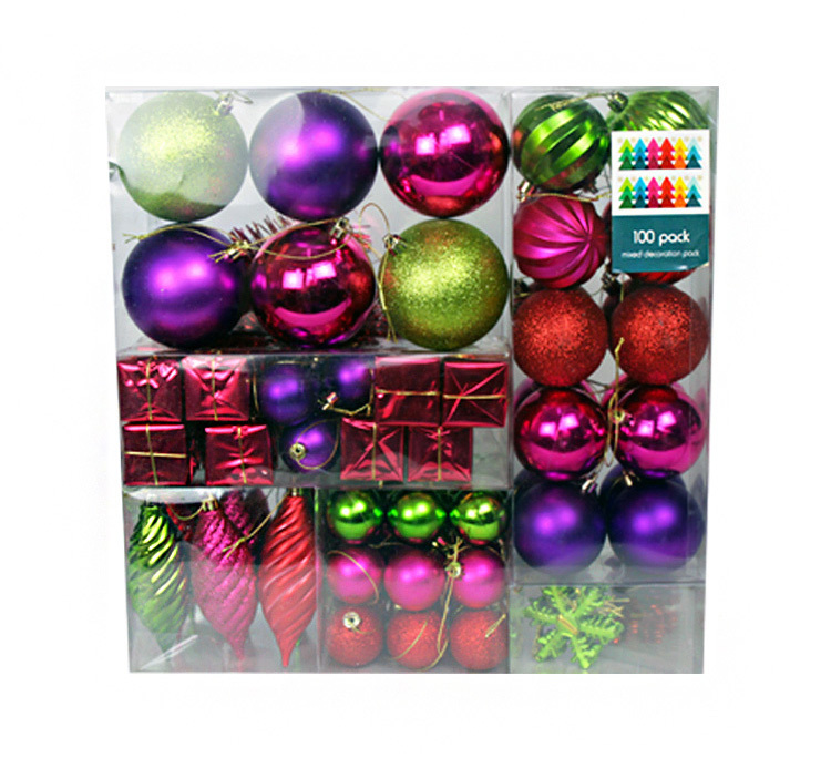 100pcs Deluxe Christmas Tree Decorations and Balls Variety Pack