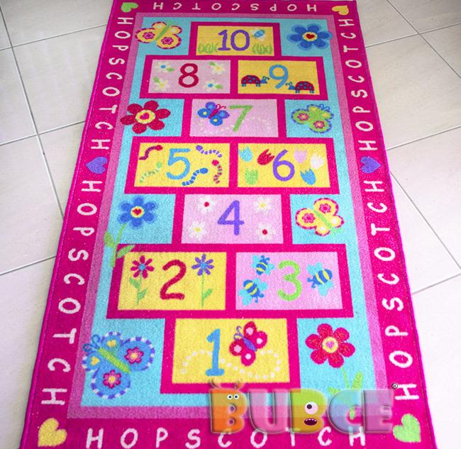 Pink Hopscotch Girls Bedroom Floor Rug Baby Kids Play Mat
