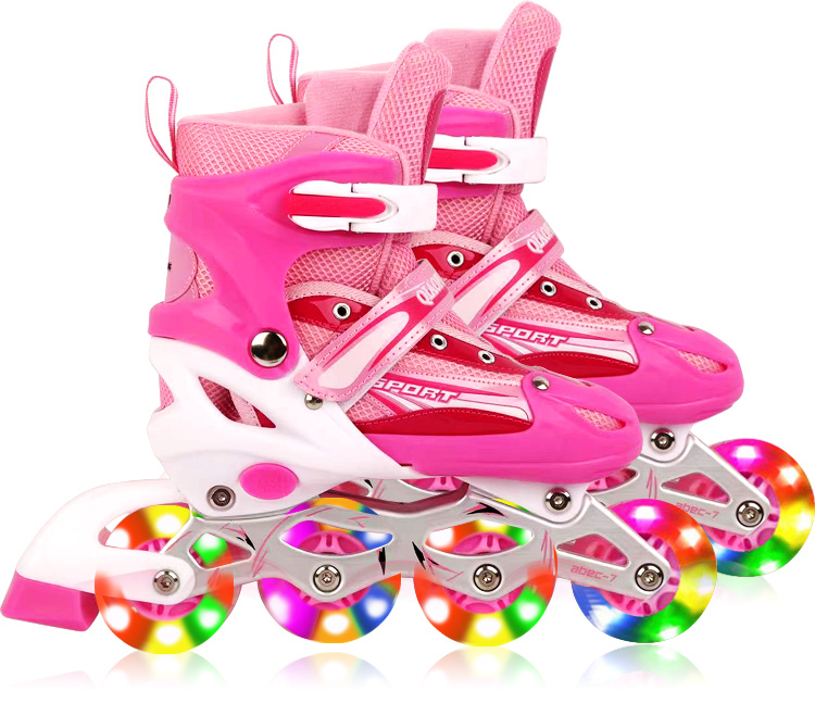 Full LED Adjustable Roller Blades Inline Skates (Pink, M)