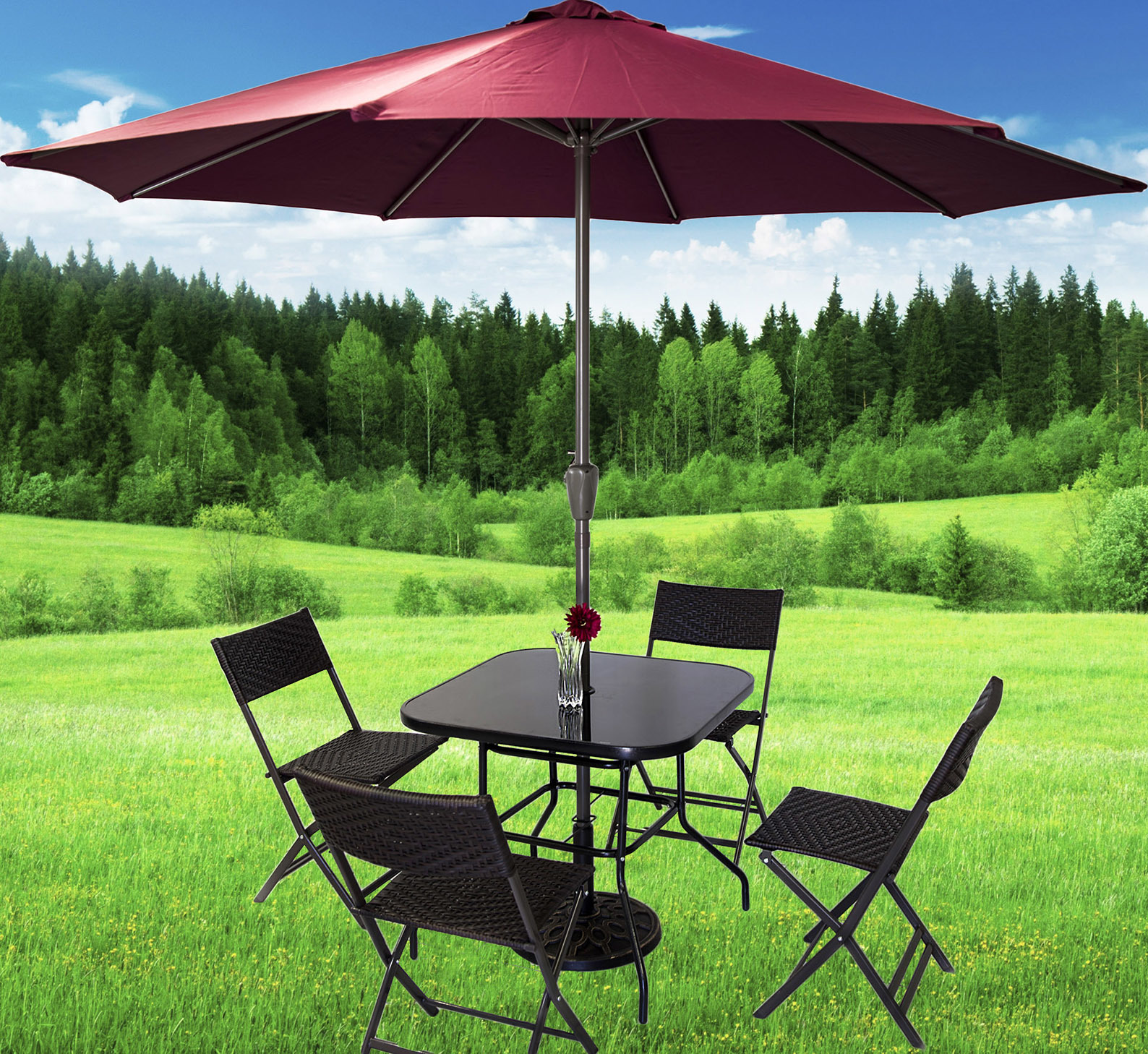 Alfresco 7 Piece Outdoor Setting (Maroon Umbrella & Stand, 4 Rattan Chairs, Square Table)