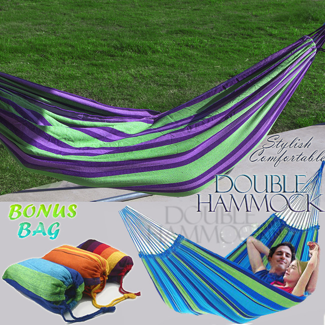DOUBLE Large Cotton Hammock with Bag (Green & Purple Stripes)