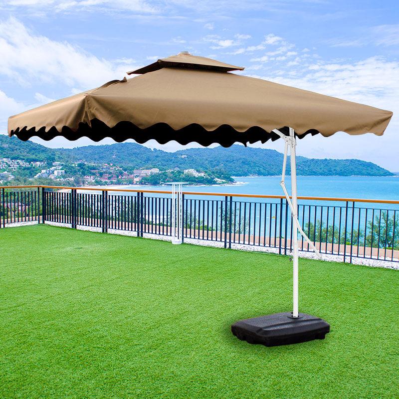 Varossa 3.5m Large Square Cantilever Outdoor Umbrella (Beige / Tan)