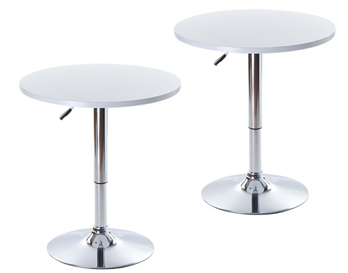 2 x Height Adjustable Designer Bar Tables with Gas Lift (White)