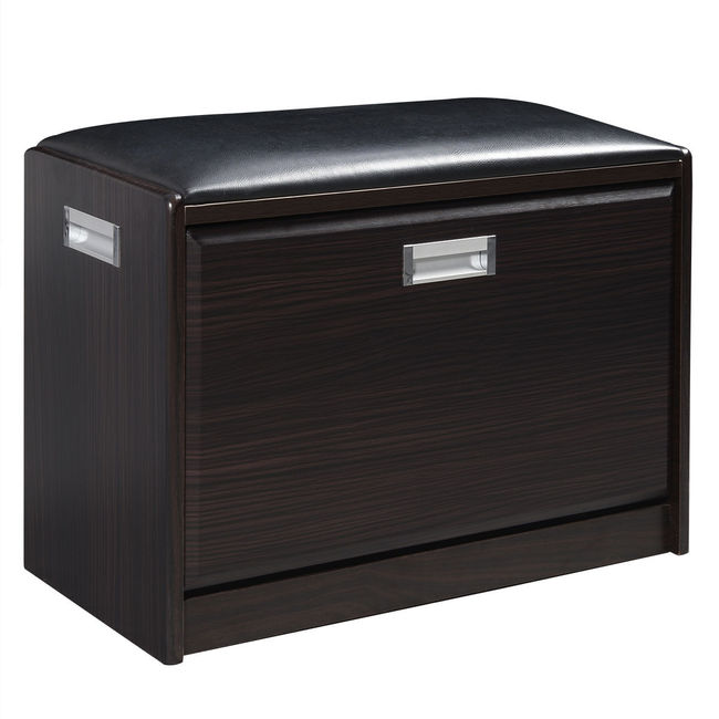 Luxury Wood & PU Leather Top Shoe Storage Cabinet & Ottoman