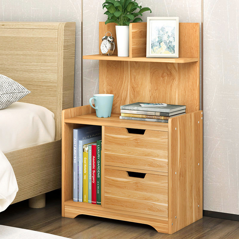 Everest Tall Bedside Table With Chest Of Drawers And Shelf
