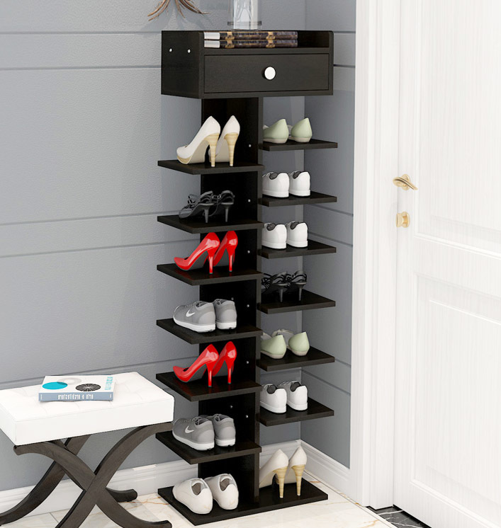 8 Tier Shoe Rack Storage Organizer (Black)