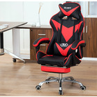 Glory Advanced Deluxe Executive High Back Gaming Reclining Office Chair with Footrest (Red & Black)