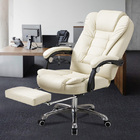 Apex Deluxe Executive Reclining Office Chair with Foot Rest (White/Cream)
