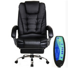 Apex Deluxe Executive Reclining Office Chair with Foot Rest & Massager (Black)