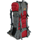 60L Large Durable Hiking Backpack Travel Bag (Red)