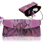 Crocodile Leather Look Handbag Evening Party Bag with Straps Pouch(Purple)