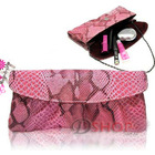 Crocodile Leather Look Handbag Evening Party Bag with Straps Pouch(Pink)