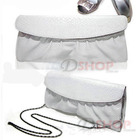 Crocodile Leather Look Handbag Evening Party Bag with Straps Pouch(White)