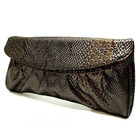 Crocodile Leather Look Handbag Evening Party Bag with Straps Pouch Purse (Metal Brown)