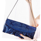 Crocodile Leather Look Handbag Evening Party Bag with Straps Pouch (Blue)