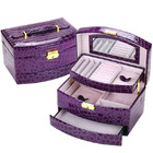 Large Luxury PU Leather Jewellery Box Storage Case (Royal Purple)