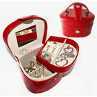 Deluxe Crocodile Leather Jewellery Box Storage Case Red