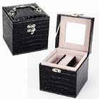 Deluxe PU Leather Jewelry Box Storage Case Organizer Gift (Black)