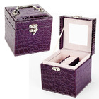 Deluxe PU Leather Jewelry Box Storage Case Organizer Gift (Purple)