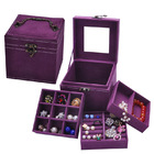 Deluxe Velvet Jewellery Box 3 Level Organizer Purple