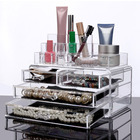 Clear Acrylic Cosmetic Makeup Display Organizer Jewelry Box 4 Drawer Storage Large Curved Top
