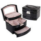Luxury PU Leather Jewellery Box Storage Case (Midnight Black)