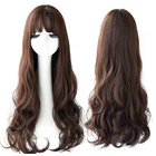 Brown Long Curly Hair Wig Natural Wavy