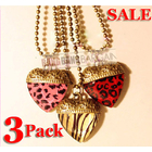 3 PK Gorgeous Leopard Hearts Necklaces