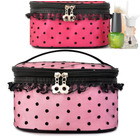 Deluxe Polka Dot Makeup Cosmetic Bag