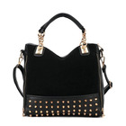 Designer Handbag Metal Studs Tote Shoulder Bag Black