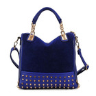 Designer Handbag Metal Studs Tote Shoulder Bag Blue