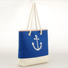 Beach Style Sailor Anchor Cotton Canvas Bag