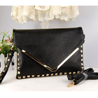 Black Studded Leather Look Shoulder Bag Clutch