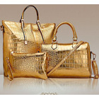 3 PCS Luxe Handbag Set, Large Tote, Shoulder Bag, Clutch Purse Wallet (Gold)