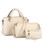 3 Pieces Faux Crocodile Handbag Set, Tote, Shoulder Bag, Clutch Purse Wallet (White / Cream)
