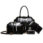 4 PCS Leather Handbag Set, Tote, Shoulder Bag, Clutch Purse Wallet & Coin Bag (BLACK)