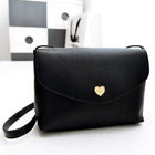 Heart Accent Crossbody Clutch Shoulder Bag (Black)
