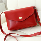 Heart Accent Crossbody Clutch Shoulder Bag (Red)