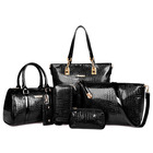 6 Pieces Crocodile Faux Handbag Set Tote Shoulder Bag Clutch Purse Coin Wallet (Black)