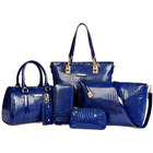 6 Pieces Crocodile Faux Handbag Set Tote Shoulder Bag Clutch Purse Coin Wallet (Blue)