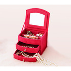 Deluxe Velvet Jewellery Box 3 Level Organizer & Drawers Hot Pink