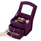 Deluxe Velvet Jewelry Box 3 Level Organizer & Drawers Purple