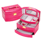 Large Luxury PU Leather Jewellery Box Storage Case (Pink)