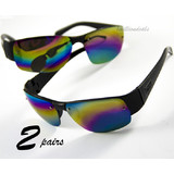2 Pairs Mirror Lens Rainbow Sunglasses 2 FREE Bags