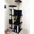 195cm Tall XXL Cat Scratching Post Pole Tower with Hammock (Black)