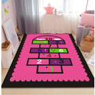 Pink Hopscotch Girls Bedroom Floor Rug Baby Kids Play Mat