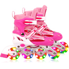 Full LED Adjustable Roller Blades Inline Skates (Pink, L)