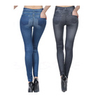 Denim look Leggings Tights Black/Blue AU 8-14